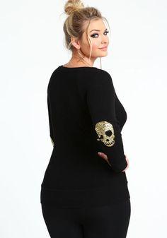 Plus Size Sequin Skull Elbow Patch Sweater Top #UNIQUE_WOMENS_FASHION