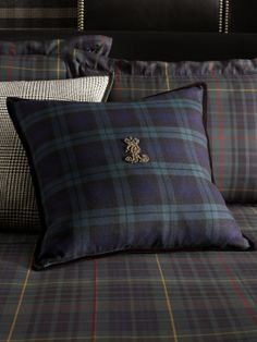Essex Black Watch Throw Pillow - Love the Houndstooth too!  Ralph Lauren Home.