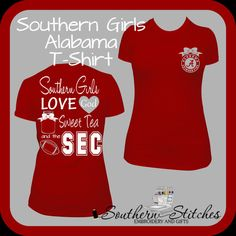 Southern Girls Sec Shirt University of Alabama ($25) ❤ liked on Polyvore featuring tops, t-shirts, black, women's clothing, roll top, shirts & tops, black shirt, vinyl t shirt and black top