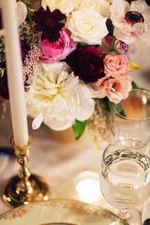 Dinner table arrangement // Lauren & Jon's wedding at Alder Manor in Yonkers, NY // Photo: Jonathan Young