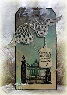 Stamps - Our Daily Bread Designs The Gate, Carried to Heaven, ODBD Custom Mini Tags Dies, ODBD Custom Angel Wings Dies. Found on ourdailybreaddesignsblog.blogspot.com  ~ Wendy Schultz ~ Cards - Clean & Simple.
