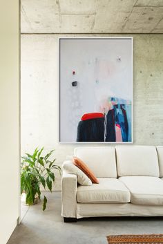 Large abstract painting White blue red oil by LolaDonoghue on Etsy, $1500.00