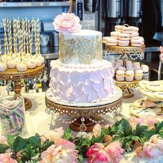 Bridal🌸Shower🌸Dessert Table by ・・・ Cakes & Catering: Opulent Treasures Cakes & Catering: Cupcake Couture Blush Wedding Cakes, Blush Wedding Colors, Wedding Cake Stands, Bridal Shower Wine, Bridal Shower Desserts, Wedding Desserts, Chandelier Cake Stand, Peony Cake, Cake Table Decorations