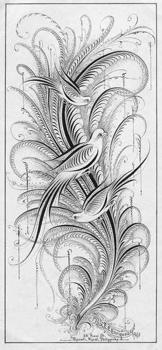 Ornamental calligraphy penmanship