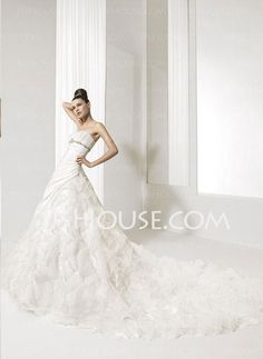 Wedding Dresses - $226.99 - Ball-Gown Strapless Cathedral Train Taffeta  Organza Wedding Dresses With Ruffle  Beadwork (002001224) http://jjshouse.com/Ball-gown-Strapless-Cathedral-Train-Taffeta--Organza-Wedding-Dresses-With-Ruffle--Beadwork-002001224-g1224
