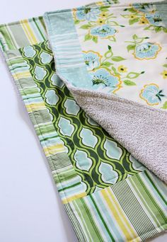 Simple sewing project - dish mats from old towels and pretty fabric!