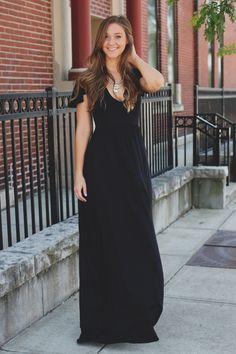 Black Deep V Flutter Sleeve Lace Up Back Maxi Dress