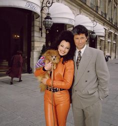Fran Drescher & Charles Shaughnessy in a photo from 'The Nanny' ...with Chester, Fran's puppy