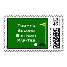 Golf Birthday Party Postage Stamp. Make your own business card with this great design. All you need is to add your info to this template. Click the image to try it out!