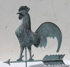 1920's American copper flattened full body form rooster on arrow weathervane.