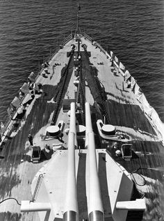 The turrets of the main guns on the American battleship USS Maryland