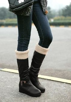 New Women Black Round Toe Flat Buckle Casual Mid-Calf Boots