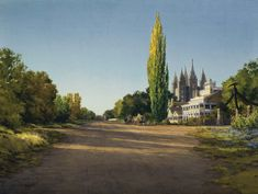 This sweeping view of the Beehive and Lion houses, Eagle Gate, and the Salt Lake Temple portrays what this famous location would have looked like in 1893. Utah Temples, Lds Temples, Salt Lake Temple, Salt Lake City, Art Images, Belgium, Country Roads, Fine Art, Artwork