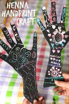 Scratch Art Henna Handprint Craft - Kids of all ages will love this relaxing and creative art activity - Happy Hooligans