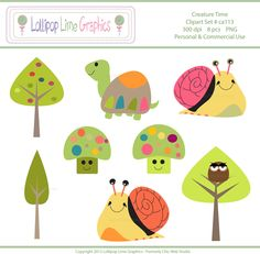 Cute Snail Turtle Tree Mushroom Owl Clipart Digital Clip Art INSTANT DOWNLOAD By chicwebstudio on Etsy.