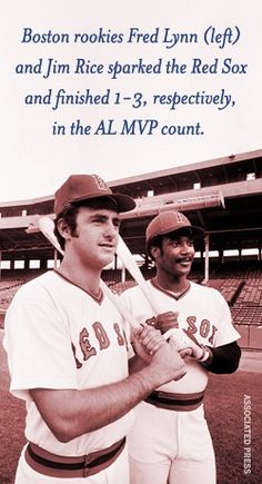 "Fred Lynn and Jim Rice the ""Gold Dust Twins"" Also finished 1 & 2 in the rookie of the year voting. Boston Red Sox Players, Jim Rice, Negro League Baseball, Best Baseball Player, Baseball Classic, Red Sox Nation, Boston Sports, Go Red, Sports Stars"