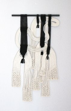 "Macrame Wall Hanging ""blk + wht by HIMO ART, One of a kind Handcrafted Macrame, rope art Modern Macrame, Macrame Art, Acrylic Rod, Rope Art, Art Du Fil, Textile Fiber Art, Macrame Projects, Weaving Art, Woven Wall Hanging"