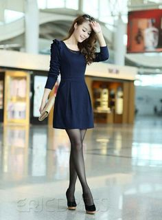 New Arrival Pretty Gentlewomanly Slim Long Sleeves Dress Sweater Dresses- ericdress.com 10724181