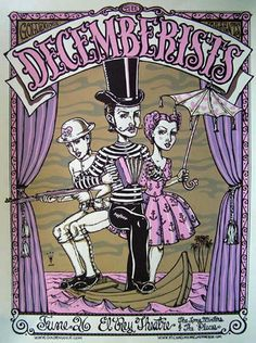 The Decemberists Concert Poster at the Hollywood Bowl- July 2007 with Andrew Bird & Band of Horses poster measures 18 inches x 24 inches hand made silkscreen print on nice heavy paper signed & numbered edition of 547 artist: Michael Michael Motorcycle Rock Posters, Band Posters, Concert Posters, Music Posters, The Decemberists, The Hollywood Bowl, Motorcycle Posters, Silk Screen Printing, Illustration