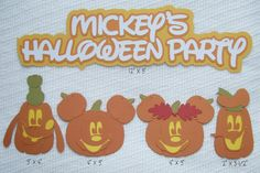 "Disney Scrapbook Page Embellishments""Mickey's Halloween Party"" Character Pumpkins by ScrapWithMeToo on Etsy"