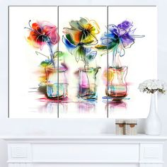 Designart 'Abstract Flowers in Glass Vases' Extra Floral Wall Art