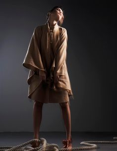Beige knitted cape with gold buttons and cream cotton dress - IVANA HELSINKI #ecofashion #editorials