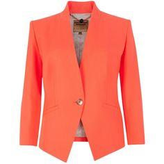 Ted Baker Neon Stretch Blazer, Light Orange found on Polyvore
