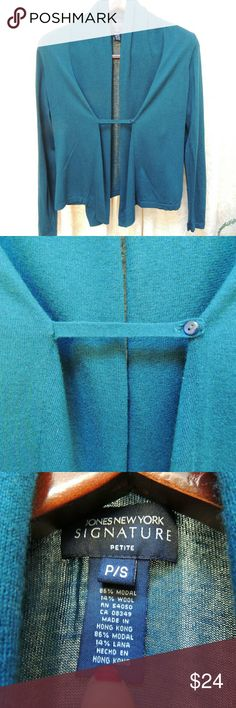 Teal blue cardigan shirt Comfy cardigan.  The front has a small piece that attaches across to keep some closure. Jones New York Signature Sweaters Cardigans