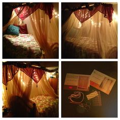 Use a valance to a flash of color to a head table back drop! DIY Simple an cheap canopy! :) Only requires four 84 inch long voile panels and 3 crushed voile ascot valances (both at Christmas tree shops for $4.99 a piece), scissors, small, clear command hooks and yarn. Thread yarn through the panels (for the head and foot of the bed use 1 panel, the side use 2, and 1 a and attach to the ceiling by tying the yarn to the command hooks. Use separate hooks and strands of yarn for the valance
