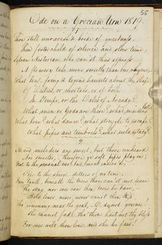 Ode on a Grecian Urn. Copy made in a notebook, probably in the hand of the poet's brother, George Keats