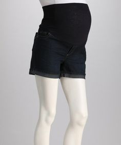 Take a look at this Oh! Mamma Dark Denim Over-Belly Maternity Shorts by Oh! Mamma on #zulily today! Maternity clothes fit me better than regular clothes, and do not make me look pregnant.