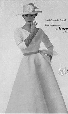 1953 Sophie Malgat in lovely gros-grain summer dress by Madeleine de Rauch