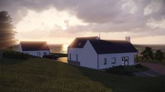 The proposed house is a modern representation of the traditional Irish vernacular form. The living block presents a narrow gable to the front whilst the bedroom block reads in union with this narrow form. House Designs Ireland, Rural House, Donegal, House Front, Building A House, Farmhouse, Cabin, Traditional, House Styles
