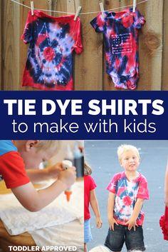 Cool Tie Dye Shirts to Make with Kids Cool Tie Dye Shirts, Cool Ties, Dye T Shirt, Summer Preschool Activities, Toddler Activities, Preschool Learning, Outdoor Activities, Tulip Tie Dye, Making Dream Catchers