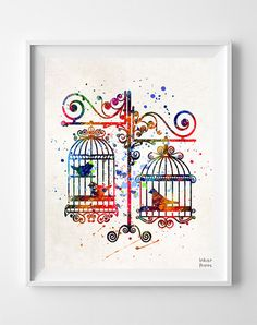 Bird cage Print Watercolor Art Nursery Poster Dorm by InkistPrints