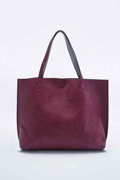 Reversible Vegan Leather Oversized Tote Bag in Burgundy and Grey - Urban Outfitters
