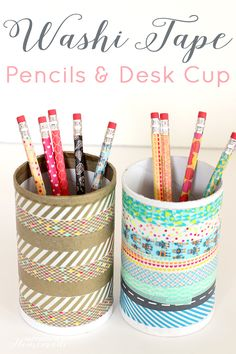 Washi Tape Pencils and Desk Cup - Happiness is Homemade
