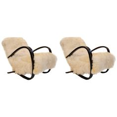 Pair of Midcentury Jindrich Halabala Armchairs in Bentwood and Sheepskin 1