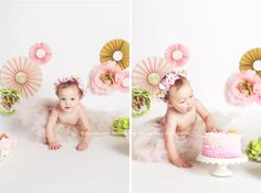 One year cake smash of a little girl
