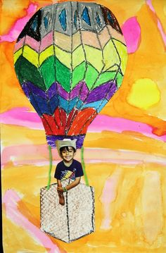 Hot air ballon use dot paints on paper plate and berry basket. Add loop onto ballon to hold. Children finish the sentence... Up , up, away in my hot air balloon. I'm going to.......
