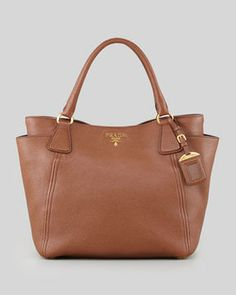 Prada Daino Side-Pocket Tote Bag, Brown on shopstyle.com