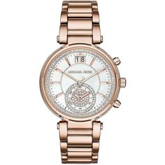 Michael Kors Sawyer Stainless Steel and Crystal Chronograph Bracelet... ($325) ❤ liked on Polyvore featuring jewelry, watches, rose gold, stainless steel chronograph watch, chronograph watch, bezel watches, pave crystal jewelry and chronograph watches
