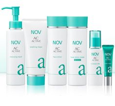 Nov AC Active: Clogged pores, excess sebum and acne bacterium often cause acne. The NOV AC ACTIVE series for adults not only tackles the cause of acne, but also brightens and corrects skin complexion*2 and texture, while addressing blackheads lodged within pores and skin irregularities.