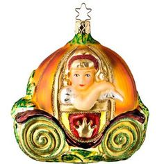"Cinderella in her pumpkin carriage measures approximately 4 1/2"".  This Christmas ornament is from the ""Fairy Tales"" collection from Inge and new for 2009.    This ornament was created using the new ""Life Touch""  Life Touch is introduced by Inge-Glas, an amazing development adding to their colorful 400 year family history of German glass blowers; a classy new and innovative painting technique known as ""Life Touch."""