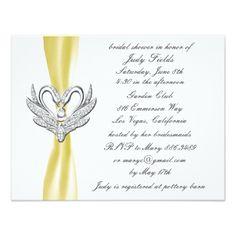 Yellow Ribbon Silver Swan Bridal Shower Invitation - invitations custom unique diy personalize occasions
