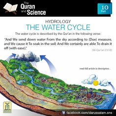 Qur'an and Science: 10. The Water Cycle: In 1580, Bernard Palissy was the first man to describe the present day concept of 'water cycle'. He described how water evaporates from the oceans and cools to form clouds. The clouds move inland where they rise, condense and fall as rain. This water gathers as lakes and streams and flows back to the ocean in a continuous cycle. In the 7th century B.C., Thales of Miletus believed that surface spray of the oceans was picked up by the wind and carried…