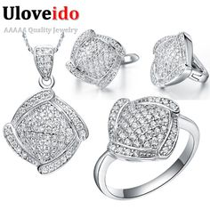 Uloveido conjunto joyería de la boda collar aretes y anillo de cristal de plata de ley 925 sistemas de la joyería nupcial joyería 49% de descuento t051