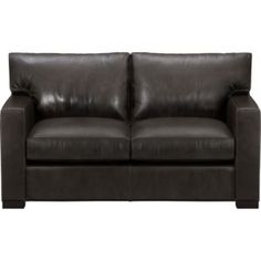 Leather loveseat sleeper in TV room Loveseat Sleeper Sofa, Guest Bedroom Office, Leather Loveseat, Comfortable Sofa, Basement Remodeling, Furniture Collection, Crate And Barrel, Sofas, Love Seat
