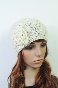 Hand knit hat  White wool beanie with crochet flower by MaxMelody, $35.00