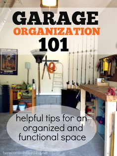 Love the fishing rod organizing! Garage Organization 101 - helpful tips for an organized and functional space! Garage Shed, Man Cave Garage, Garage House, Garage Workshop, Garage Workbench, Car Garage, Shed Storage, Garage Storage, Tool Storage
